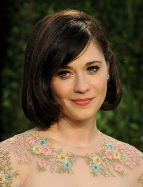 Zooey Deschanel Short Layered Bob Hairstyle with Side Bangs for Thick Hair