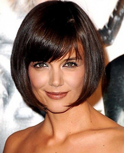 Katie Holmes short haircut - chic smooth rounded bob hairstyle for women