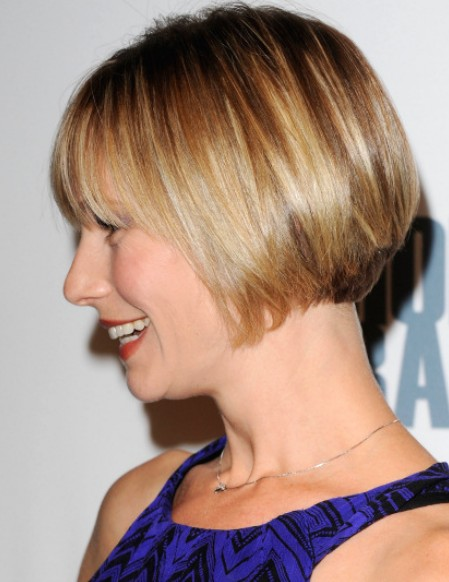 Meredith Monroe short straight bob hairstyle with blunt bangs