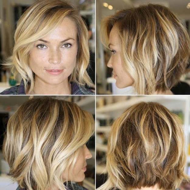 Layered bob haircut with waves for women