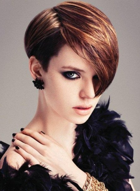 Popular Short Hairstyle with Long Side Swept Bangs for Women