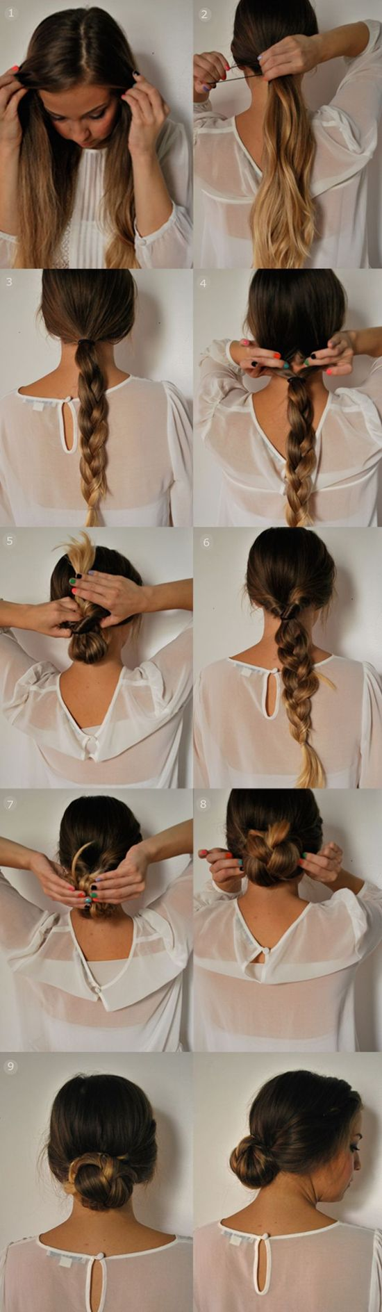 Quick 5 minutes updo braided ponytail updo