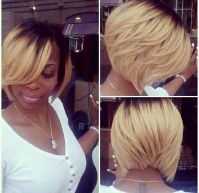 Short dark to blond ombre bob hairstyle for black women