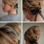 Classic beehive updo with ribbon headband