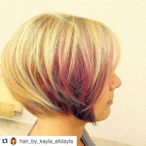 Chic highlighted round bob hairstyle for short hair
