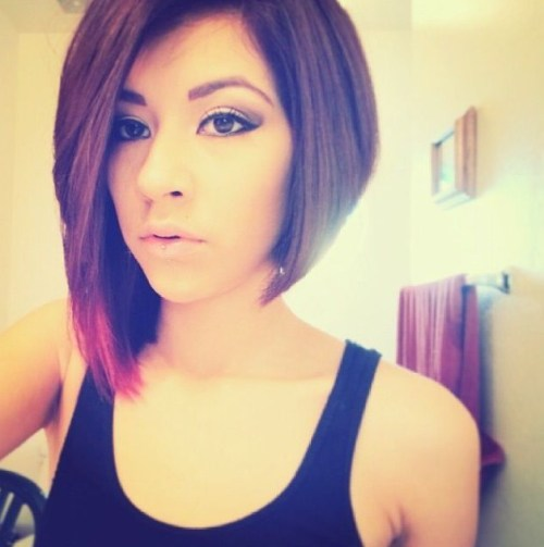 Cute ombre asymmetrical bob haircut for thick hair