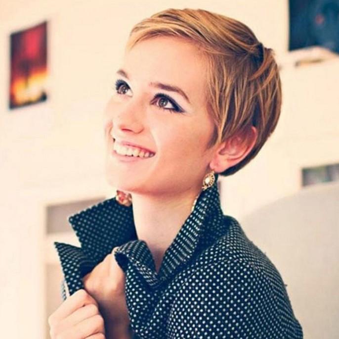 Cute short sleek pixie cut for women