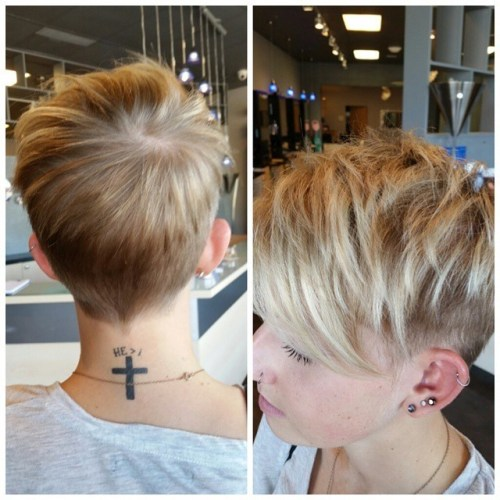 Layered short pixie cut for summer