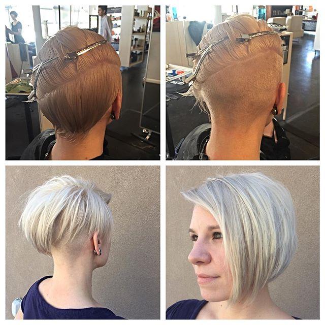 Trendy asymmetrical bob hairstyle for thin hair