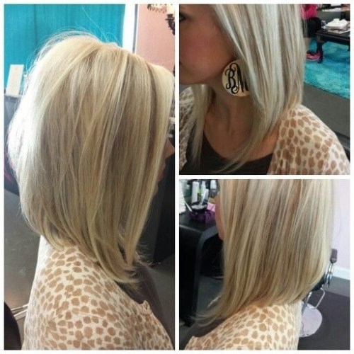 angled long bob hairstyle for women
