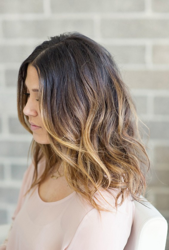 messy ombre long bob hairstyle