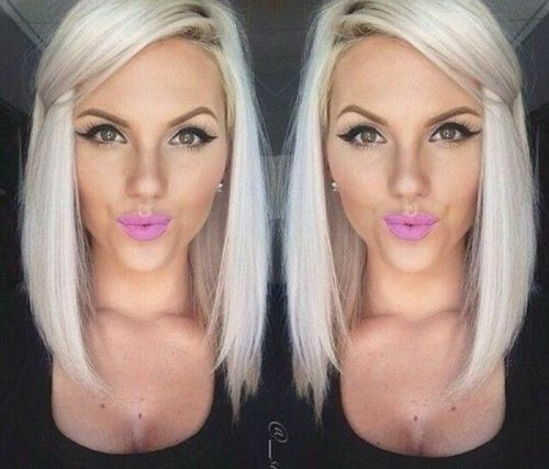 platinum blonde lob hairstyle for women