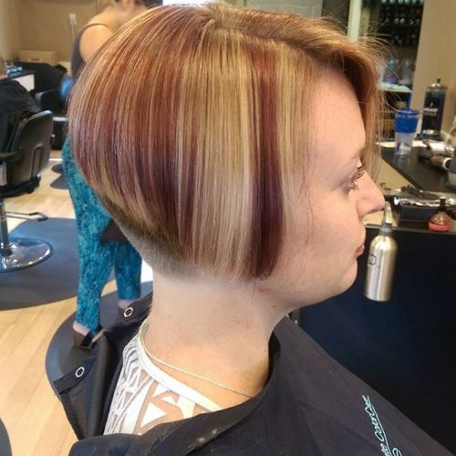 Cute short highlighted Stacked Bob Hairstyle