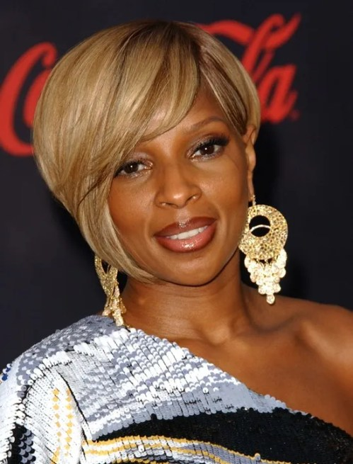 Mary J. Blige short Asymmetrical Edgy bob hairstyle for black women