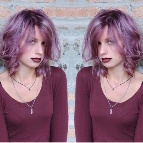 Purple Messy Bob Hairstyle