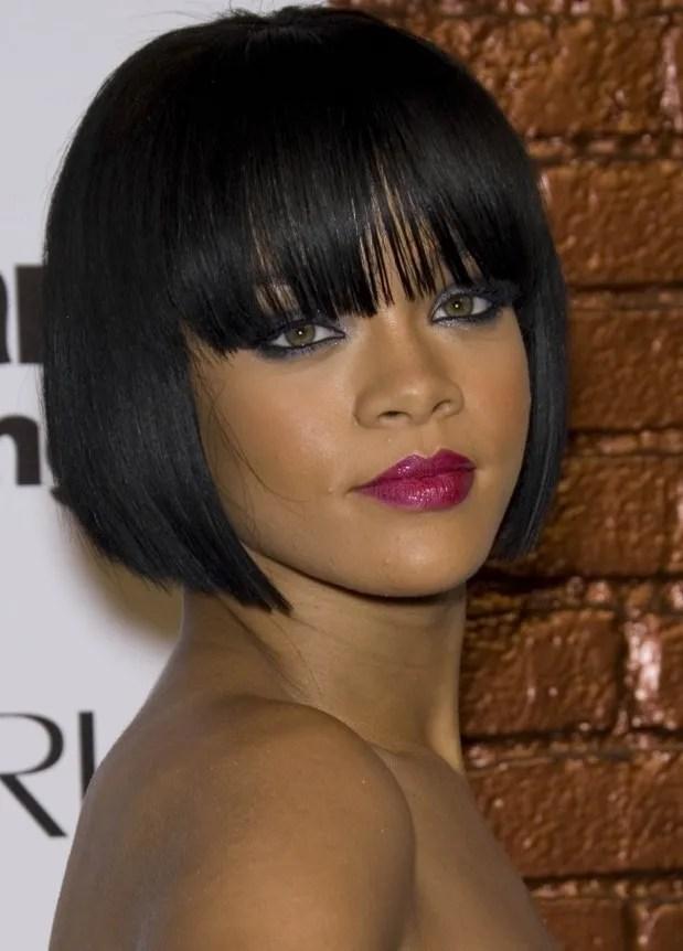 Rihanna's Blunt Bob Haircut with Bangs