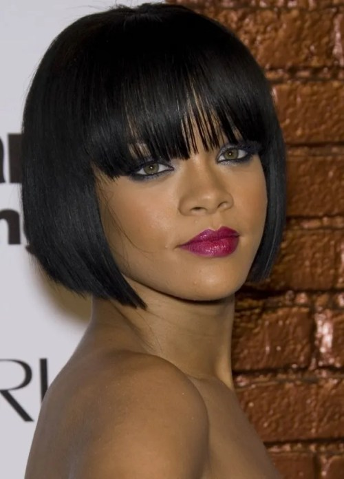 Rihanna's Blunt Bob Haircut with Bangs