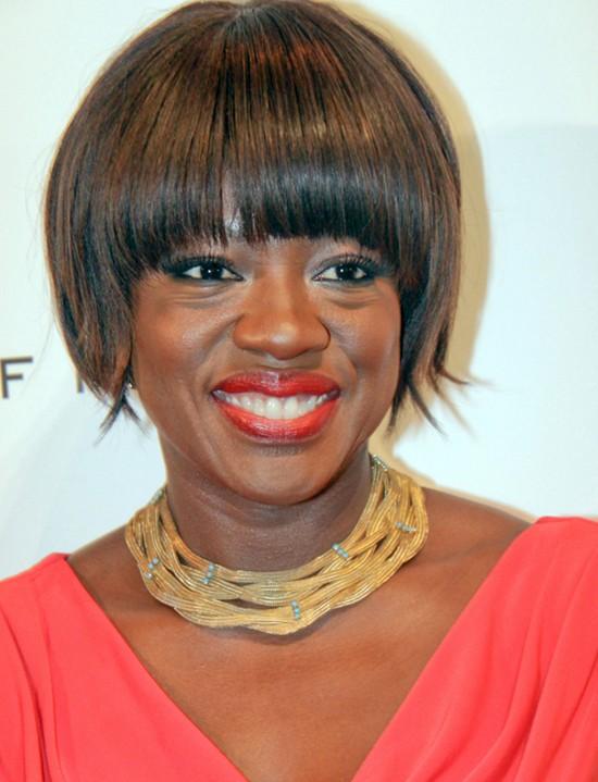 Viola Davis Razor Bob Haircut for Black Women