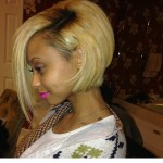 cute asymmetrical bob hairstyle for black women