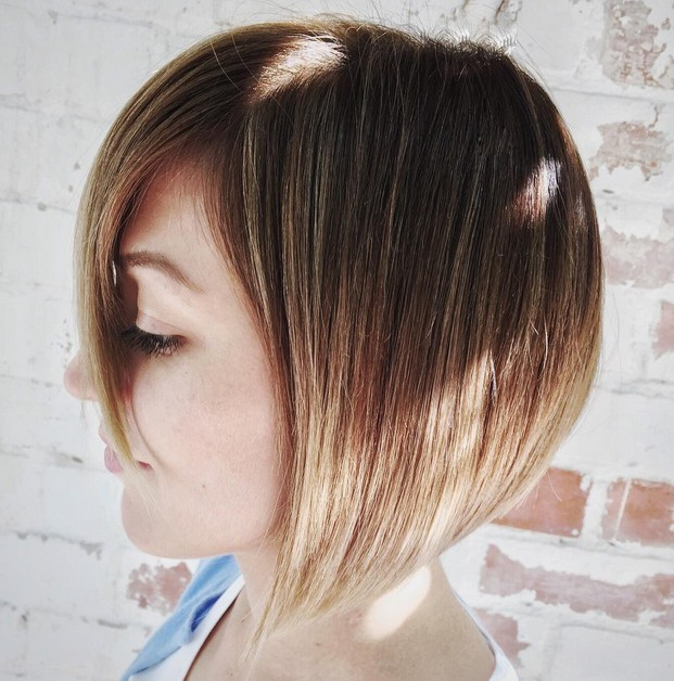 cute short brunette to blonde ombre graduated bob haircut