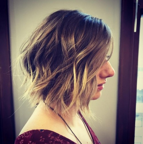 cute short choppy bob haircut ombre color