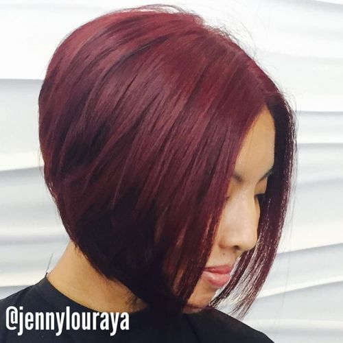 layered red Inverted Bob Hairstyles