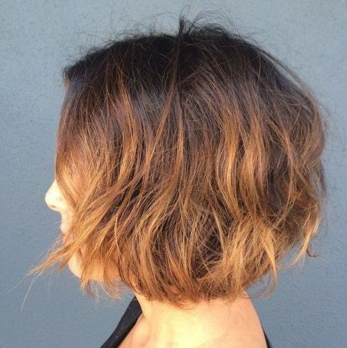 layered short choppy bob haircut dark to brown ombre hair color