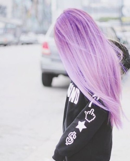 long straight pastel purple hair style for girls