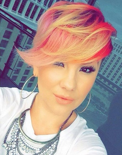 longer pixie cut with long bangs - pink red yellow color