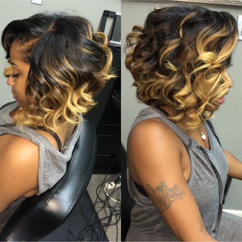 medium curly hairstyle for black women - messy bob