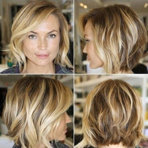 messy layered bob hairstyle with bangs for square face shapes