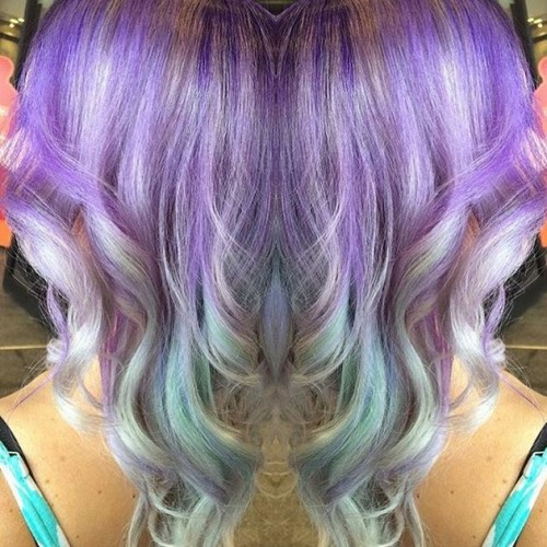 pastel purple hair style with waves