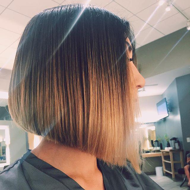 straight a-line ombre bob cut
