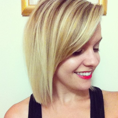 straight bob hairstyle with bangs