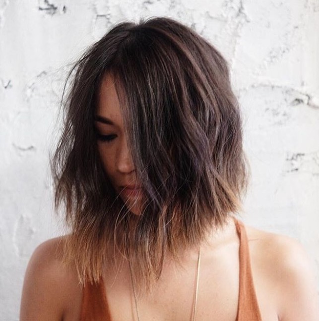 textured choppy ombre bob hairstyle