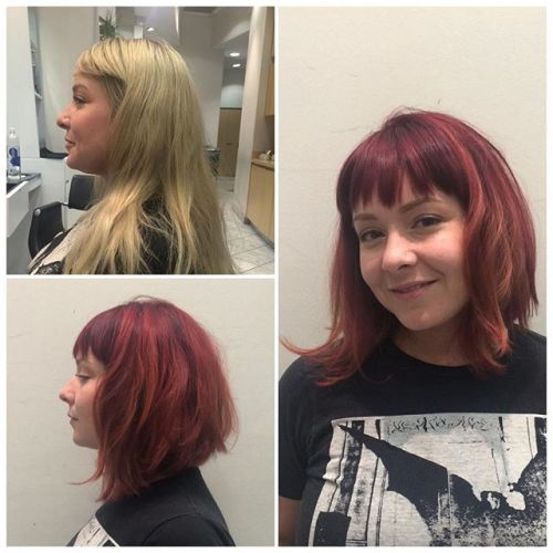textured messy a-line bob hairstyle with bangs for medium length hair