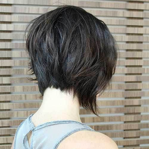 back view of messy inverted bob haircut