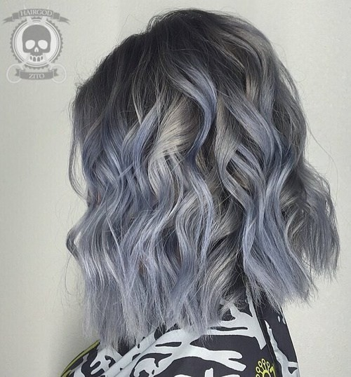 Blue Gray Madness - Shoulder Length Haircut for Women