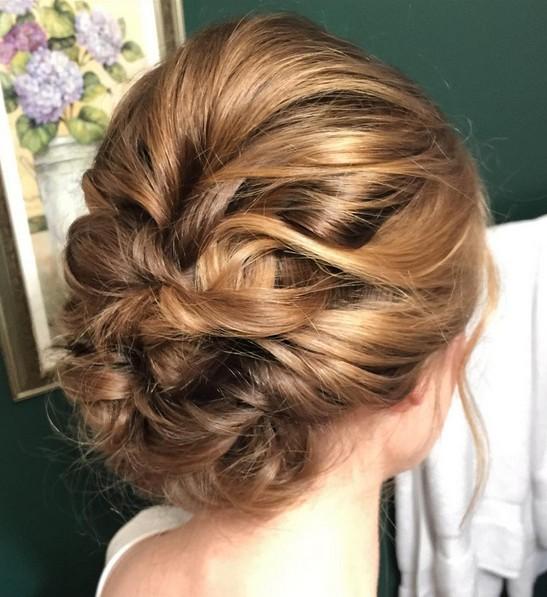 Bridesmaid Updo Hairstyle for Medium Length Hair