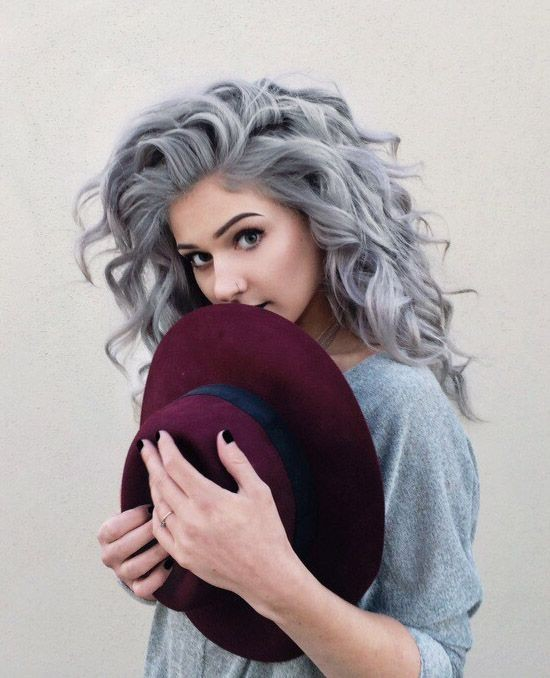 Grey Hair Styles - Messy, Curly Long Hair
