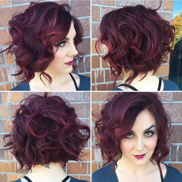 Messy Stacked Haircut with Curly Hair - Short Curly Hairstyle for Women
