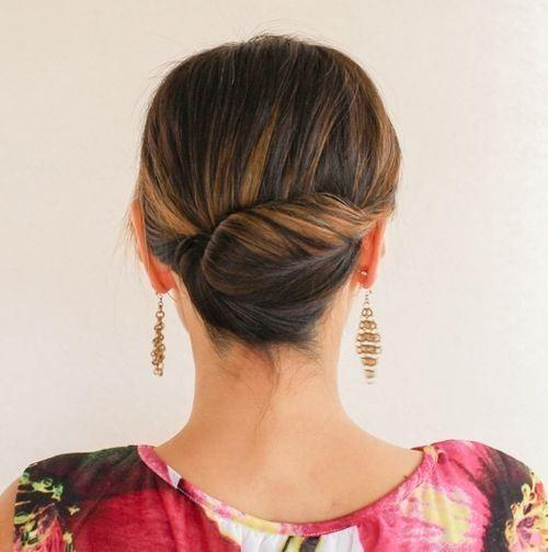 Tight Back Twist Updo For Medium Length Hair
