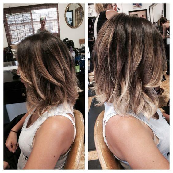 Wavy Lob Hairstyle - Balyage highlights for a long bob, Hair Color
