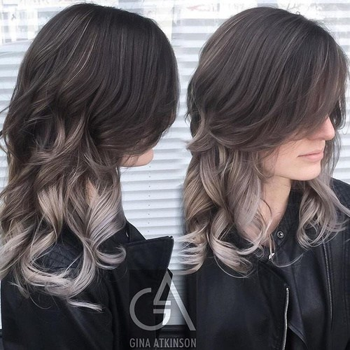 Black and Sliver Hair for Mid-length Hair