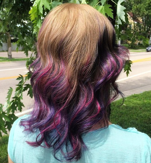 Blonde and Lavender Hairstyle