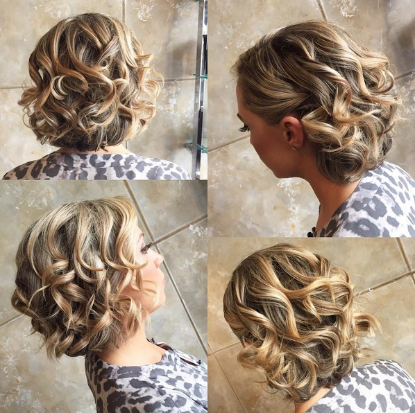 Homecoming Hairstyle with Short Curly Hair - Balayage Hair Styles