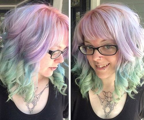 Pink, Blue and Green Hairstyle