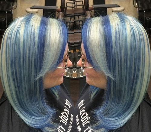Pretty Silver and Blue Bob
