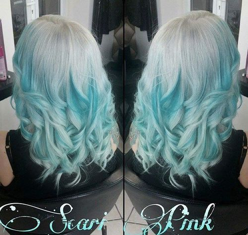 Sliver and Blue Curly Hair