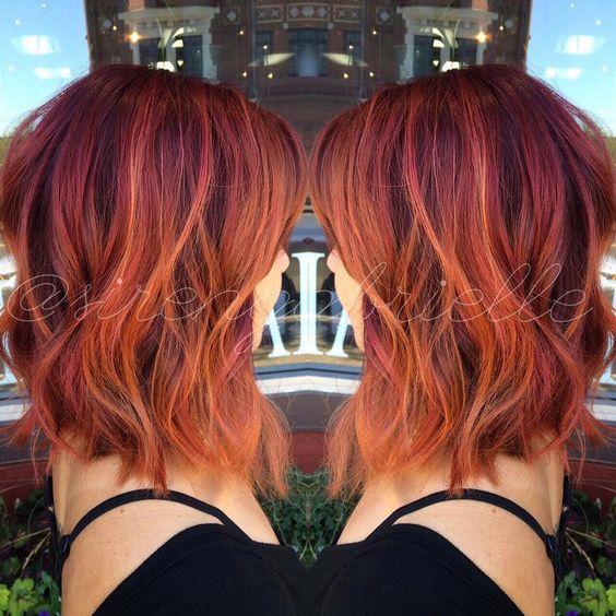 red balayage lob hairstyles